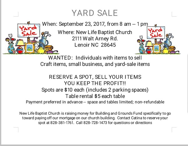 Fall Yardsale 2017